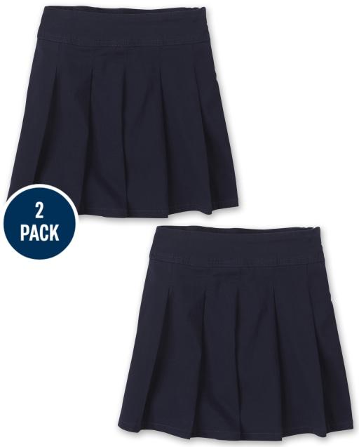 Girls Uniform Stretch Woven Pleated Skort 2-Pack