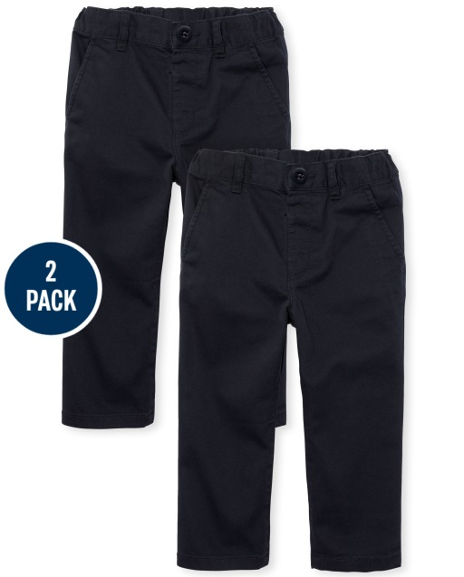 Pull-on EZ-fit waist: faux button with hook-and-bar closure, faux fly, elasticized back