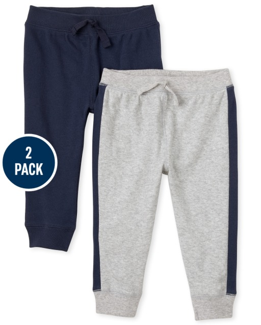 Baby Boys Side Stripe And Solid Knit Pants 2-Pack