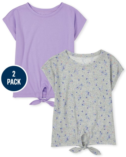 Girls Short Sleeve Solid And Print Tie Front Basic Layering Tee 2-Pack