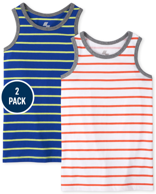 Boys Mix And Match Sleeveless Striped Tank Top 2-Pack