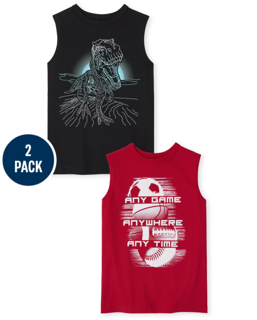Boys Sleeveless Graphic Muscle Tank Top 2-Pack