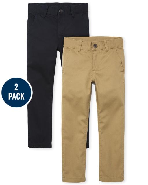 Boys Uniform Woven Stretch Skinny Chino Pants 2-Pack