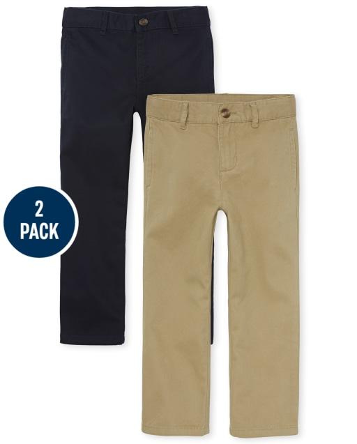 Boys Uniform Woven Stretch Chino Pants 2-Pack