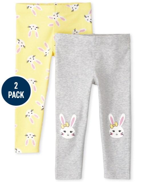 Toddler Girls Bunny Knit Leggings 2-Pack
