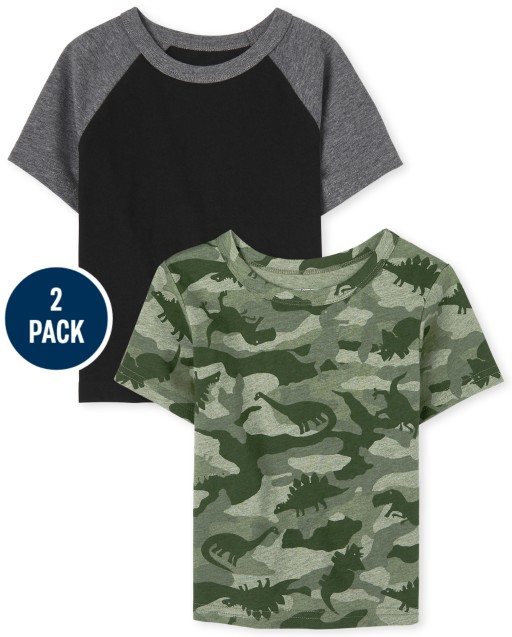 Baby And Toddler Boys Short Sleeve Dino Camo Print And Raglan Top 2-Pack