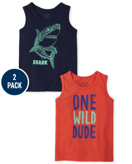 Baby And Toddler Boys Mix And Match Sleeveless 'One Wild Dude' And 'Shark' Tank Top 2-Pack