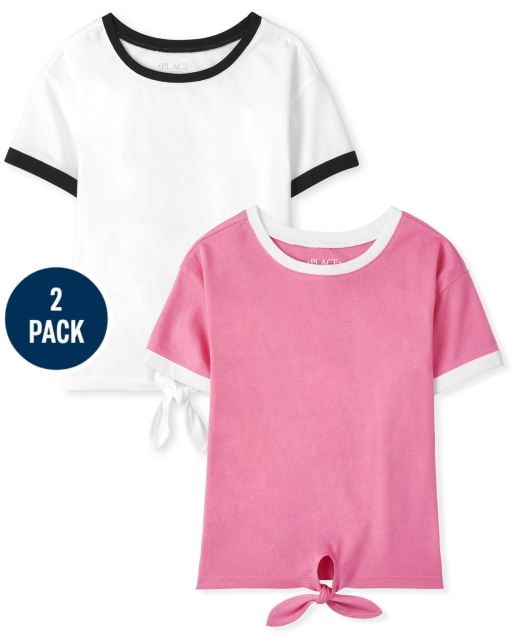 Pack de 2 top de manga corta con lazo en la parte delantera Mix And Match para niñas