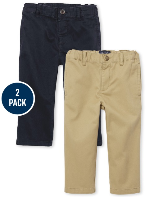 Baby And Toddler Boys Basic Woven Chino Pants 2-Pack