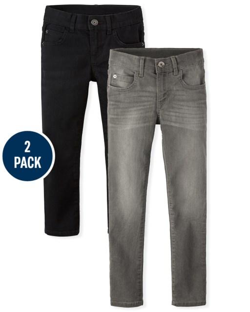 Paquete de 2 jeans ajustados elásticos para niño