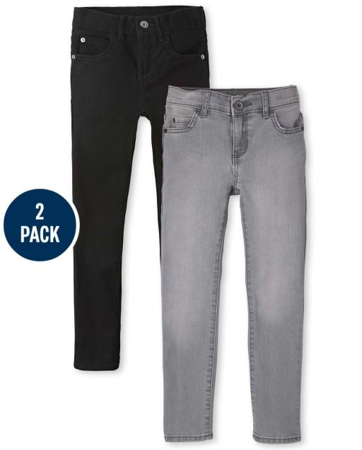 Paquete de 2 jeans ajustados elásticos para niños