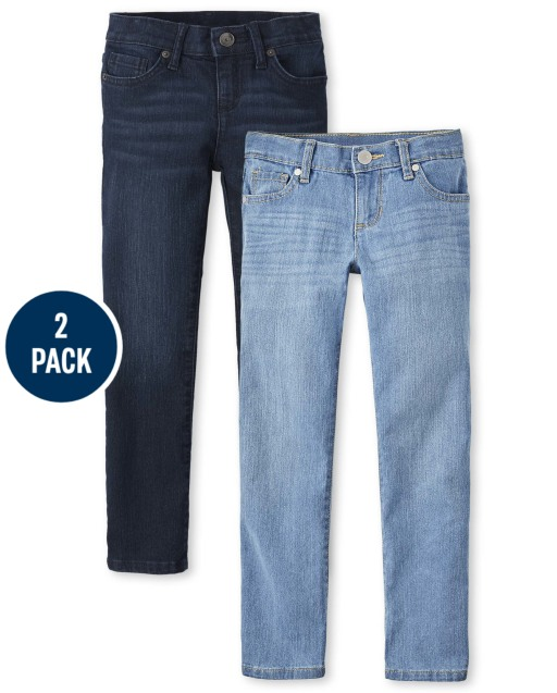 Girls Basic Stretch Skinny Jeans 2-Pack