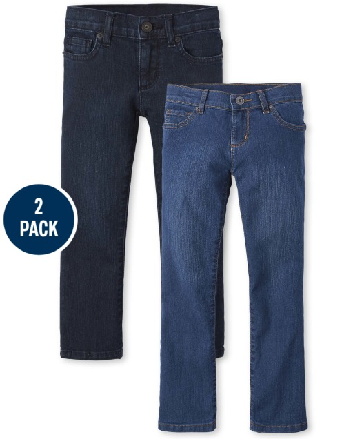 Girls Basic Stretch Bootcut Jeans 2-Pack