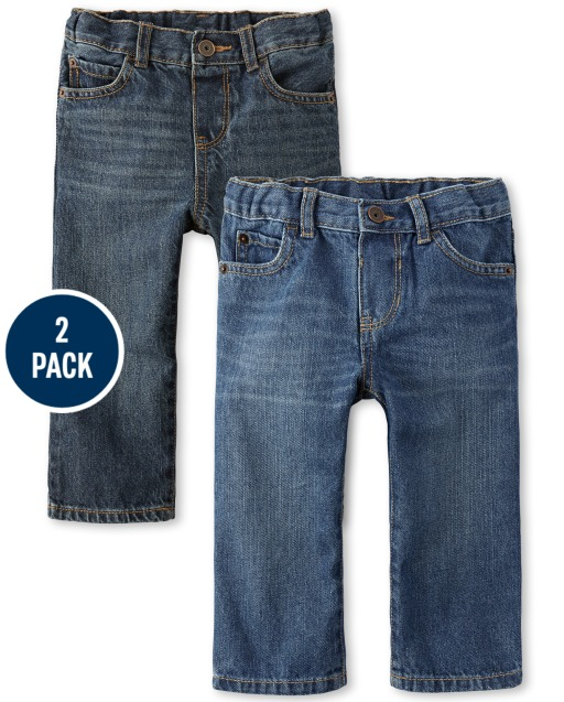 Baby And Toddler Boys Basic Straight Jeans 2-Pack