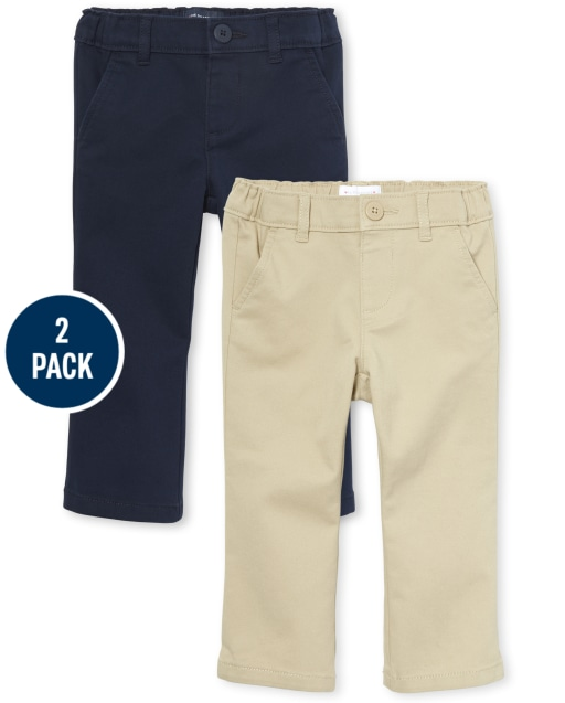 Toddler Girls Uniform Woven Stretch Bootcut Chino Pants 2-Pack