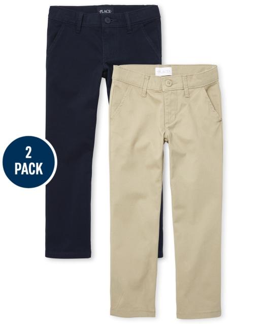 Paquete de 2 pantalones chinos con corte de bota tejido de uniforme para niñas