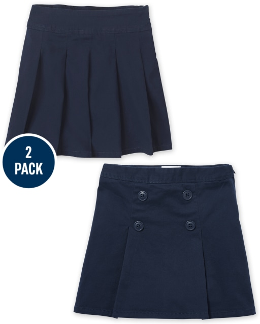 Girls Uniform Stretch Woven Button Skort 2-Pack