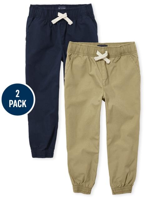 Boys Uniform Woven Pull On Jogger Pants 2-Pack