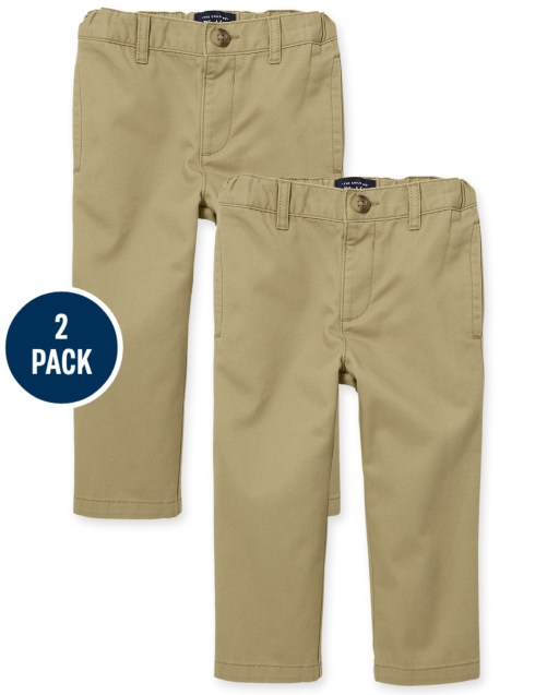 Toddler Boys Uniform Woven Skinny Chino Pants 2-Pack