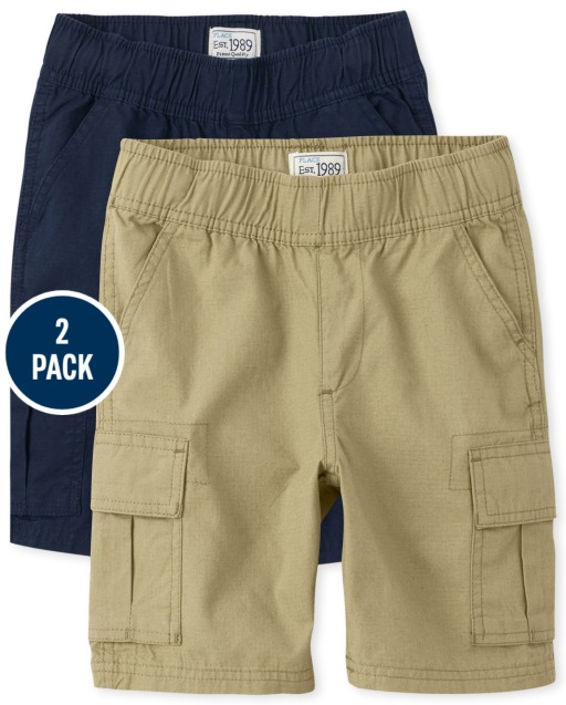 Paquete de 2 pantalones cortos tipo cargo sin tirantes tejidos de uniforme para niños