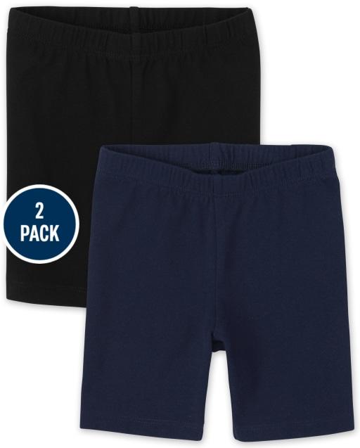 Paquete de 2 pantalones cortos de ciclismo de punto para niñas pequeñas