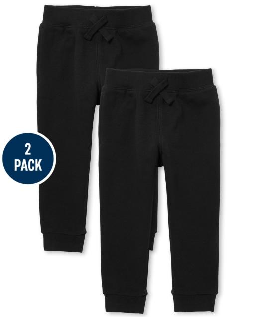Paquete de 2 pantalones deportivos de polar activo con uniforme para bebés y niños pequeños