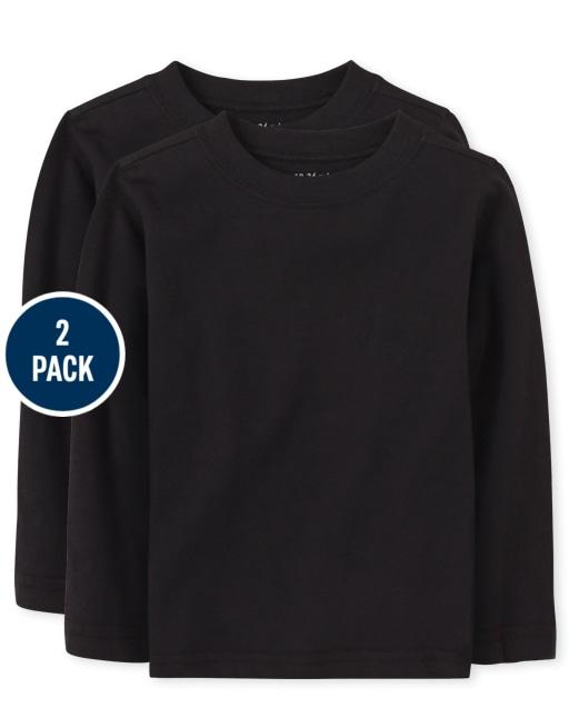 Paquete de 2 camisetas básicas de manga larga para bebés y niños pequeños
