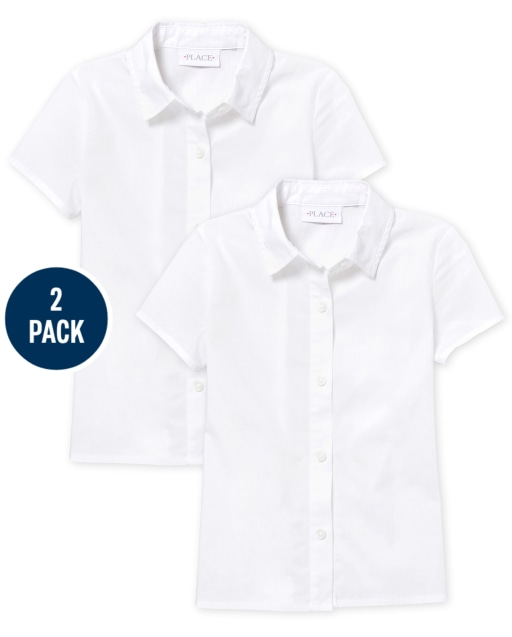 Girls Uniform Short Sleeve Poplin Button Down Shirt 2-Pack