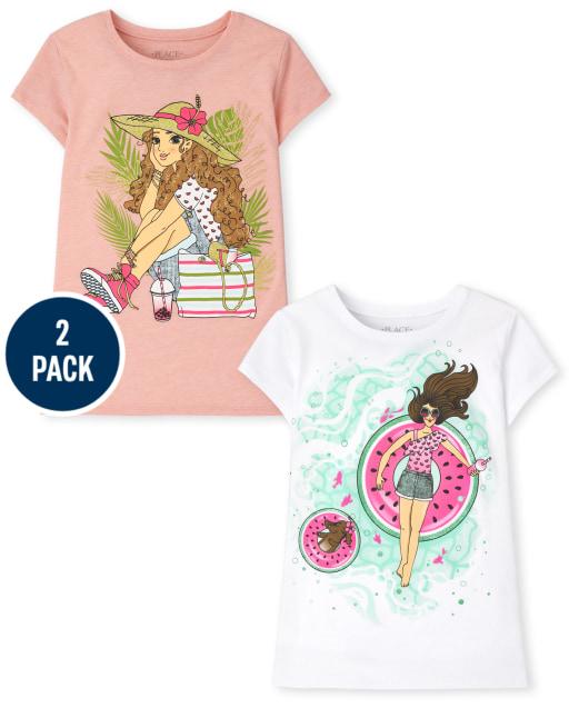 Girls Short Sleeve Summer Graphic Tee 2-Pack