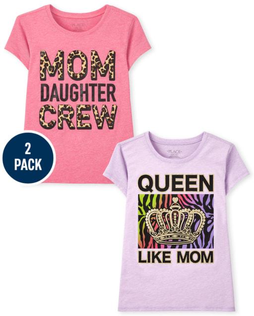 Girls Short Sleeve Mom Graphic Tee 2-Pack