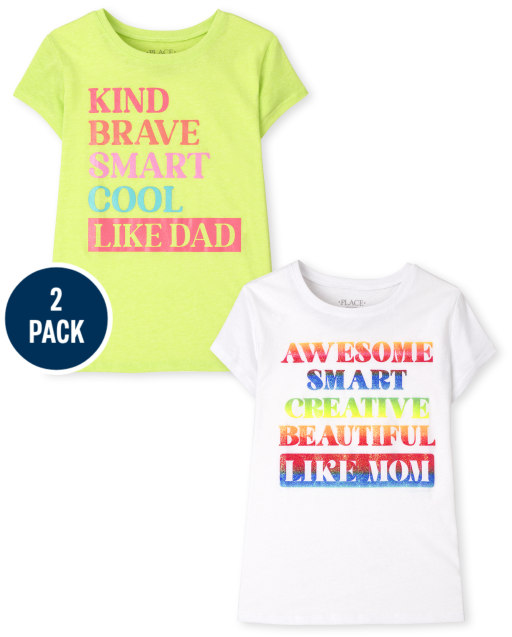 Girls Short Sleeve Mom And Dad Graphic Tee 2-Pack