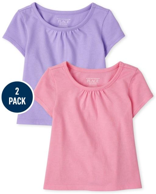 Paquete de 2 camisetas altas bajas de manga corta para niñas pequeñas