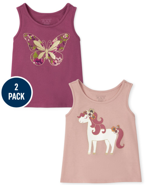 Toddler Girls Mix And Match Sleeveless Graphic Tank Top 2-Pack