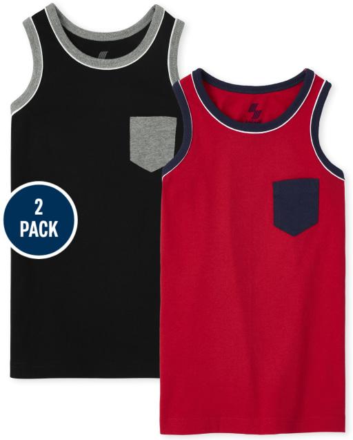 Boys Sleeveless Pocket Tank Top 2-Pack