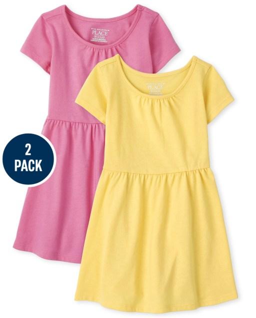 Toddler Girls Short Sleeve Solid Skater Dress 2-Pack
