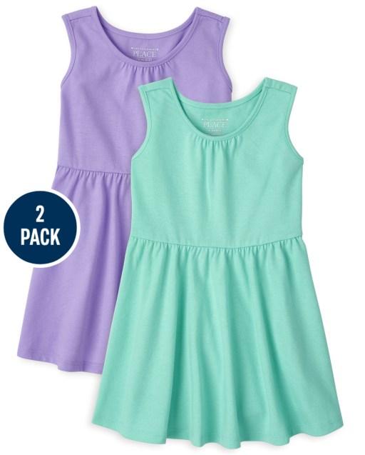 Toddler Girls Sleeveless Tank Dress 2-Pack