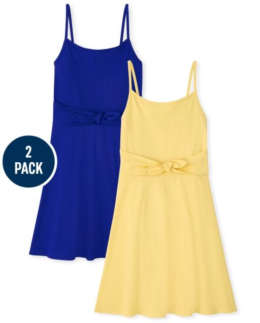 Girls Sleeveless Knit Tie Front Dress 2-Pack