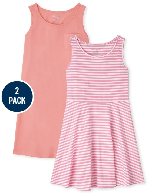 Girls Sleeveless Solid And Striped Knit Tank Dress 2-Pack