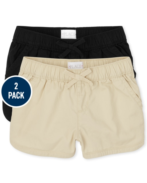 Girls Twill Pull On Shorts 2-Pack