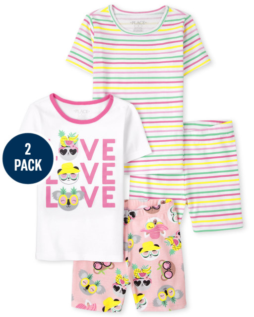 Girls Short Sleeve 'Love Love Love' And Striped Snug Fit Cotton Pajamas 2-Pack