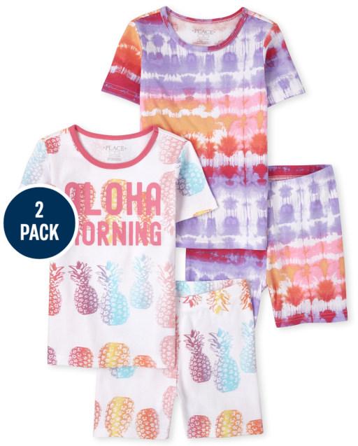Girls Short Sleeve 'Aloha Morning' Tie Dye Snug Fit Cotton Pajamas 2-Pack