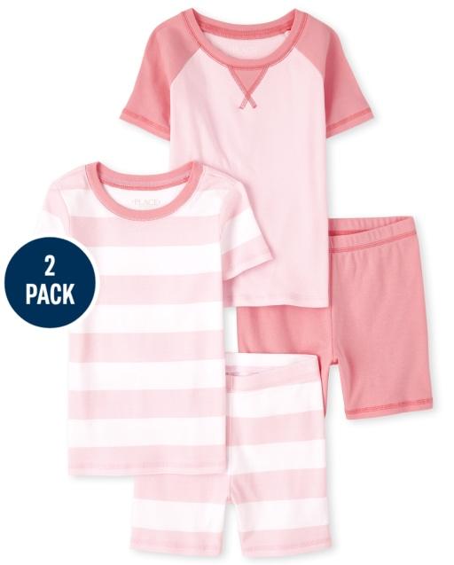 Girls Short Sleeve Snug Fit Cotton Pajamas 2-Pack