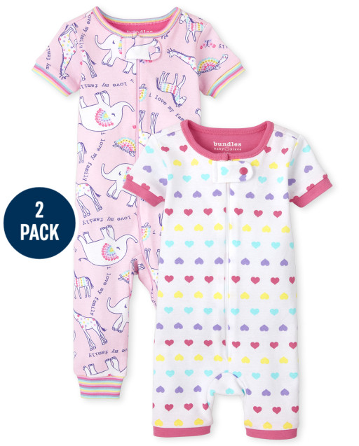 Baby And Toddler Girls Short Sleeve Animal And Hearts Snug Fit Cotton One Piece Pajamas 2-Pack