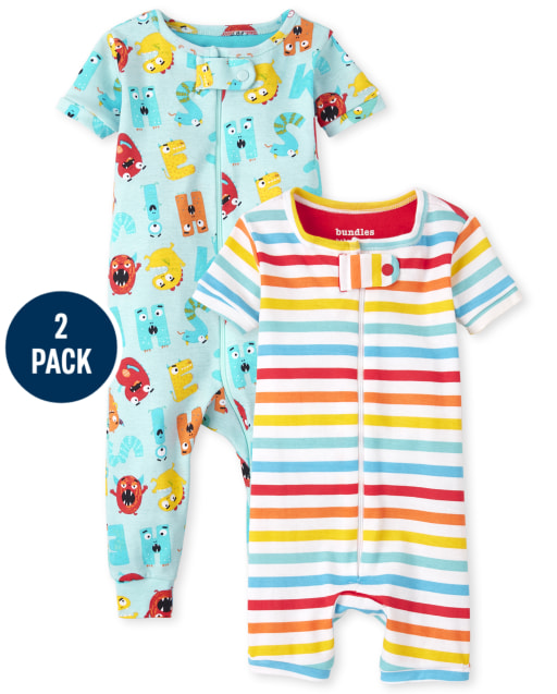 Unisex Baby And Toddler Short Sleeve ABC And Striped Snug Fit Cotton One Piece Pajamas 2-Pack