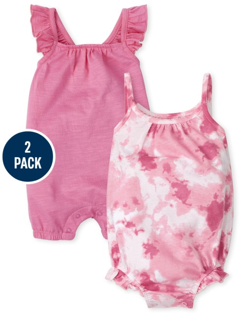 Baby Girls Sleeveless Tie Dye And Bow Knit Romper 2-Pack
