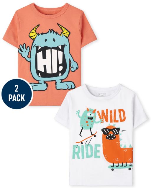 Toddler Boys Short Sleeve Monster Graphic Tee 2-Pack