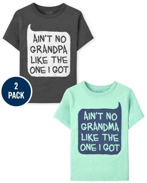 Toddler Boys Short Sleeve Grandparents Graphic Tee 2-Pack
