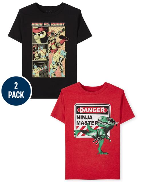 Boys Short Sleeve Ninja Graphic Tee 2-Pack