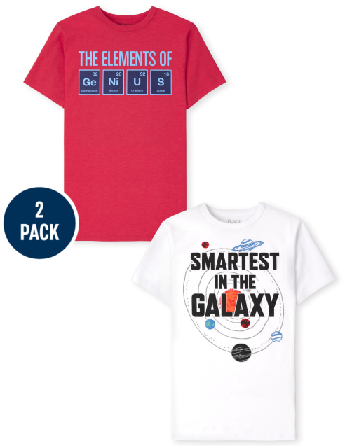 Pack de 2 camisetas estampadas Genius de manga corta para niños