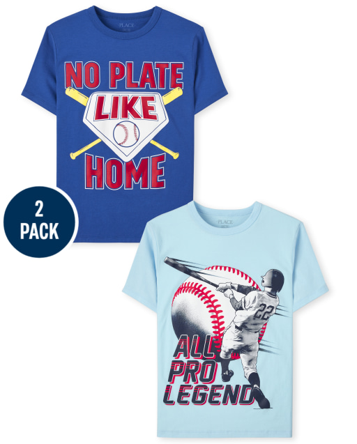 Pack de 2 camisetas estampadas de béisbol de manga corta para niños